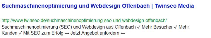 Suchmaschinenoptimierung Webdesign Offenbach Snippet